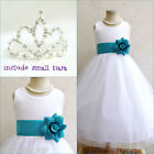 Adorable White/teal green flower girl party dress FREE SMALL TIARA all sizes