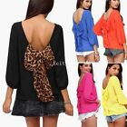 Sexy Women Ladies Casual Long Sleeve Chiffon Blouse Bow Back T Shirt Top Tops