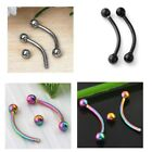 10pc Stainless Steel 16g Ball Curved Barbell Bars Ear Eyebrow Ring Body Piercing