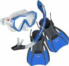BWS - Adult Snorkel Travel Set Combo - MASK, FINS/FLIPPERS, DRY TOP SNORKEL Blue