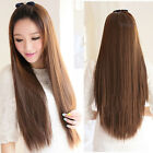 Lady Long Straight Silky Hair Half Wig Black Brown Cosplay Daily Party Wig