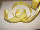 Country Kitchen Gingham Lemon Yellow & White Retro - Luxury Wire Edged Ribbon