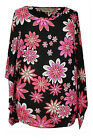 New Ladies Cerise Pink Floral Print Lace Sleeve Tunic Top Plus Size 16 - 26