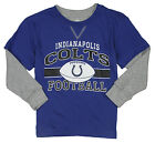 NFL Football Kids Boys Indianapolis Colts Long Sleeve Faux Layer Shirt - Blue