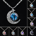 2015 Choker Necklace Glass Galaxy Lovely Pendant Silver Chain Moon Necklace Gift