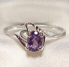 Genuine Faceted Oval Amethyst .925 Sterling Silver Ring -- AM849