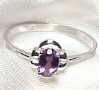 Genuine Faceted Oval Amethyst .925 Sterling Silver Ring -- AM829