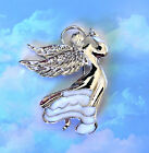 WHITE ANGEL CLEAR CRYSTAL AWARENESS RIBBON SILVER BROOCH PIN W/ GIFT BAG