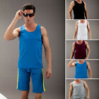 Fitness Sports Men Mesh Gym Jersey Athletic Tank Tops A-Shirt Undershirt Shorts