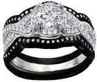 3.60ct Real 925 Silver Wedding Engagement 3pc set black and white Ring Women's