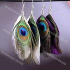Handmade Natural Peacock Feather Dangle Silver Hook Earring Eardrop Jewelry Gift