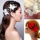 Lady Hot Red/White Butterfly Crystal Headpiece Bridal Wedding Party Hair Clip