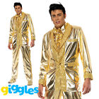Adult Mens Elvis Presley Costume Gold Lame Tuxedo Suit Fancy Dress Party Outfit