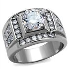New Stainless Steel Men's AAA Cubic Zirconia Wedding Band Ring - Sizes 8-13
