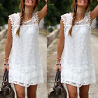 Women Casual Sleeveless Lace Mini Dress Ladies Cocktail Evening Party Dress S-XL