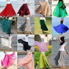New Womens Full Boho Elastic Waist Chiffon Dress Summer Chiffon Long Maxi Skirt
