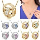 Fashion New Crystal Chain Rhinestone Love Heart Ring Pendant Chain Necklace Gift