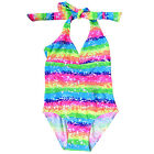 Kids Summer Dress Rainbow Color Backless Bow Lace Tankini Bikini Swimw