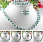 Womens Crystal Round Flower Beaded Necklace Bracelet Hook Earrings Jewelry Set