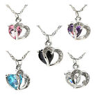 Enduring Crystal Silver Heart Pendant Necklace Chain Bridal Wedding Jewelry HFS