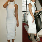 NEW WOMEN'S TURTLE NECK SLEEVELESS KNITTED BODYCON MIDI LENGTH DRESS WHITE XS-M