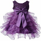 Kids Girls Princess Pearl Bow Tulle  Birthday Weding Party Pageant Dancing Dress