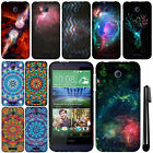 For HTC Desire 510 Mandala Galaxy PATTERN HARD Protector Case Phone Cover + Pen
