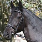 RHINEGOLD ELEGANCE FANCY STITCHED COMFORT BRIDLE- FLASH & REINS - BLACK FULL