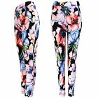 NEW LADIES FLOWER PRINT STRETCH TROUSERS TURN UP WOMEN CELEB LONG CREPE PANTS