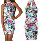 NEW LADIES FLORAL PRINT POLO NECK MINI DRESS MUSCLE BACK BODYCON LOOK WOMENS TOP
