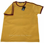 Relco 1970s Style Ringer T Shirt MUSTARD 100% Cotton Retro Northern Soul Mod