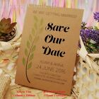 Personalised Kraft Green Vine Wedding Save the Date Cards with Envelopes