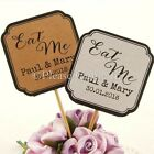 """DIY Personalised Double Sided White/Kraft Wedding Cupcake Toppers """"Eat Me"""""""