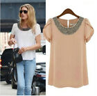 New Fashion Womens Ladies Chiffon Loose T Shirt Crochet Tops Beads Blouse