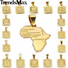 "HOT Womens Mens Chain Unisex Yellow Gold Filled GF Square ""Letter"" PENDANT GIFT"