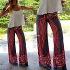 Women Summer Floral Casual Stretch Pants Wide Leg Long Loose Palazzo Trousers