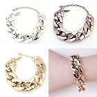 Womens Gothic Gold Black Silver Link Chain Cuff Acrylic Cool Bracelet Anklet