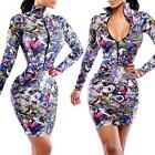 Sexy Womens Multi-color Abstract Prints Long Sleeve Bodycon Mini Dress Blue 00TX