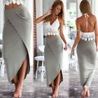 Women Lace Crop Top + Asymmetrical Hem Wrap Skirt Summer Long Maxi Sundress 6-14