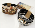 Punk Cool Men Womens Crystal Leather Belt Bracelet Cuff Wristband Wide Bangle
