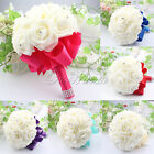 6 Colors Hand Made Ribbon Wedding Bridal Bridesmaid Bouquet Flower Pearl Decor