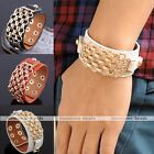 Punk Men Chain Cow Leather Bracelet Bangle Cuff Clasp Button Wristband Cool Gift