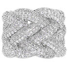 Rhodium Plated Clear White Micro Pave CZ Crystal Wide Braided Lady Woman Ring