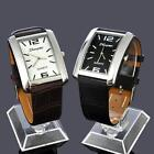 Classic Steel Square Case Black Brown Leather Band Strap Wrist Watch For Mens
