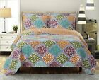Over Sized Dahlia Reversible Coverlet Luxury Microfiber Printed Quilt Bedspread