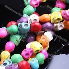 Strand Carved Skull Howlite Turquoise Stone Loose Spacer Beads Charm Jewelry DIY