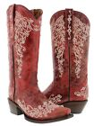 Women's Red Abilene Leather Western Cowboy Boots Rhinestones Rodeo Cowgirl New