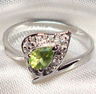 Genuine Faceted Briolette Green Peridot .925 Sterling Silver Ring -- PD959