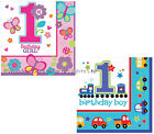 16 1st First Birthday Party Paper Napkins Serviettes Blue Cars / Pink Flowers