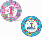 "8 Round 9"" Paper Plates 1st First Birthday Party Blue Train or Pink Butterflies"